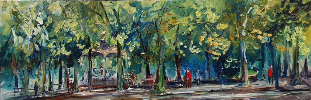 Peinture à l'huile du kiosque de la pépinière à Nancy 30cm x 90cm