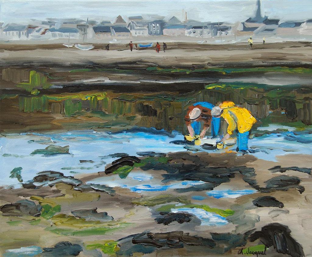 Peinture à l'huile de pècheurs de crevettes en Bretagne 38cm x 46cm