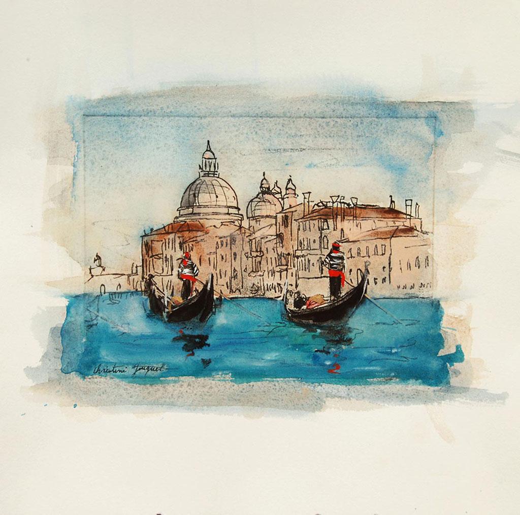 Technique mixte du grand canal à Venise