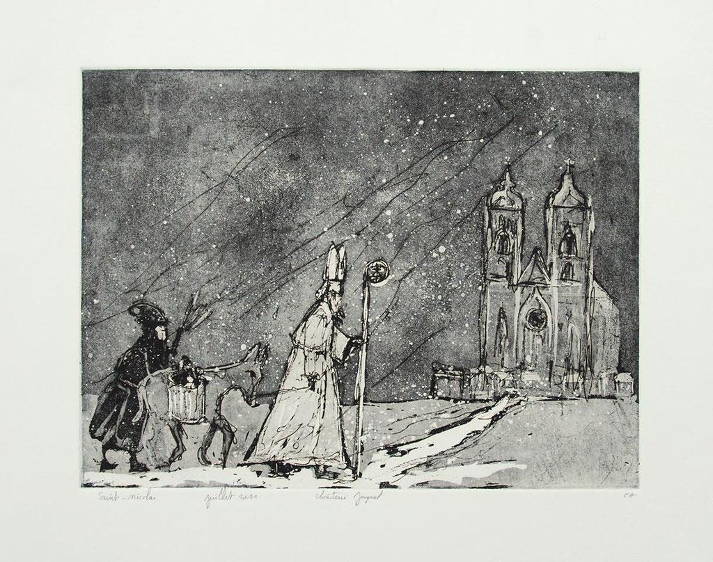 Estampe originale de Saint Nicolas