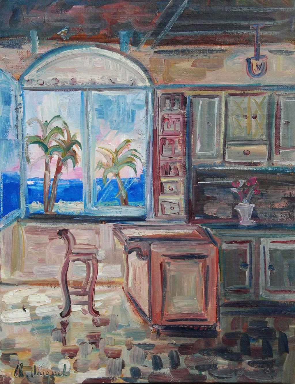 Peinture à l'huile d'une cuisine avec fenêtre sur la mer