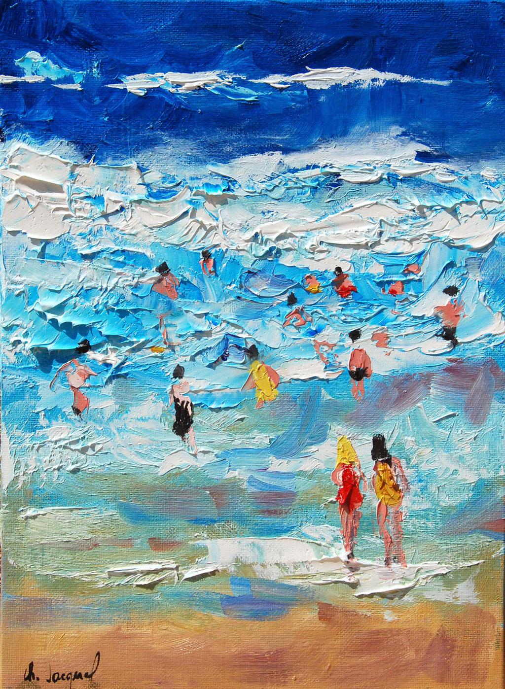 Peinture à l'huile de vacanciers dans les vagues 33cm x 24cm