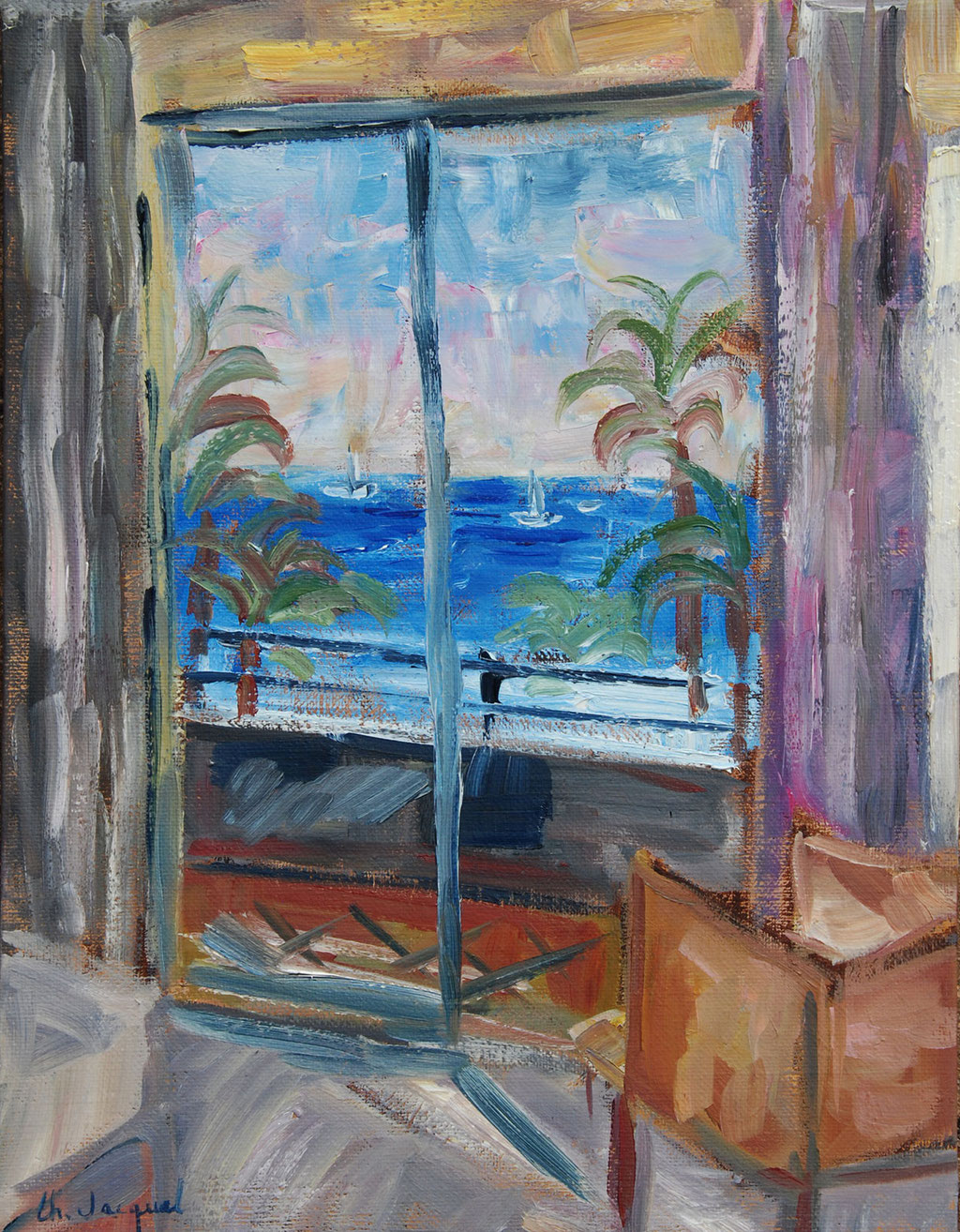 Peinture à l'huile d'une feêtre ouverte avec vue sur la mer