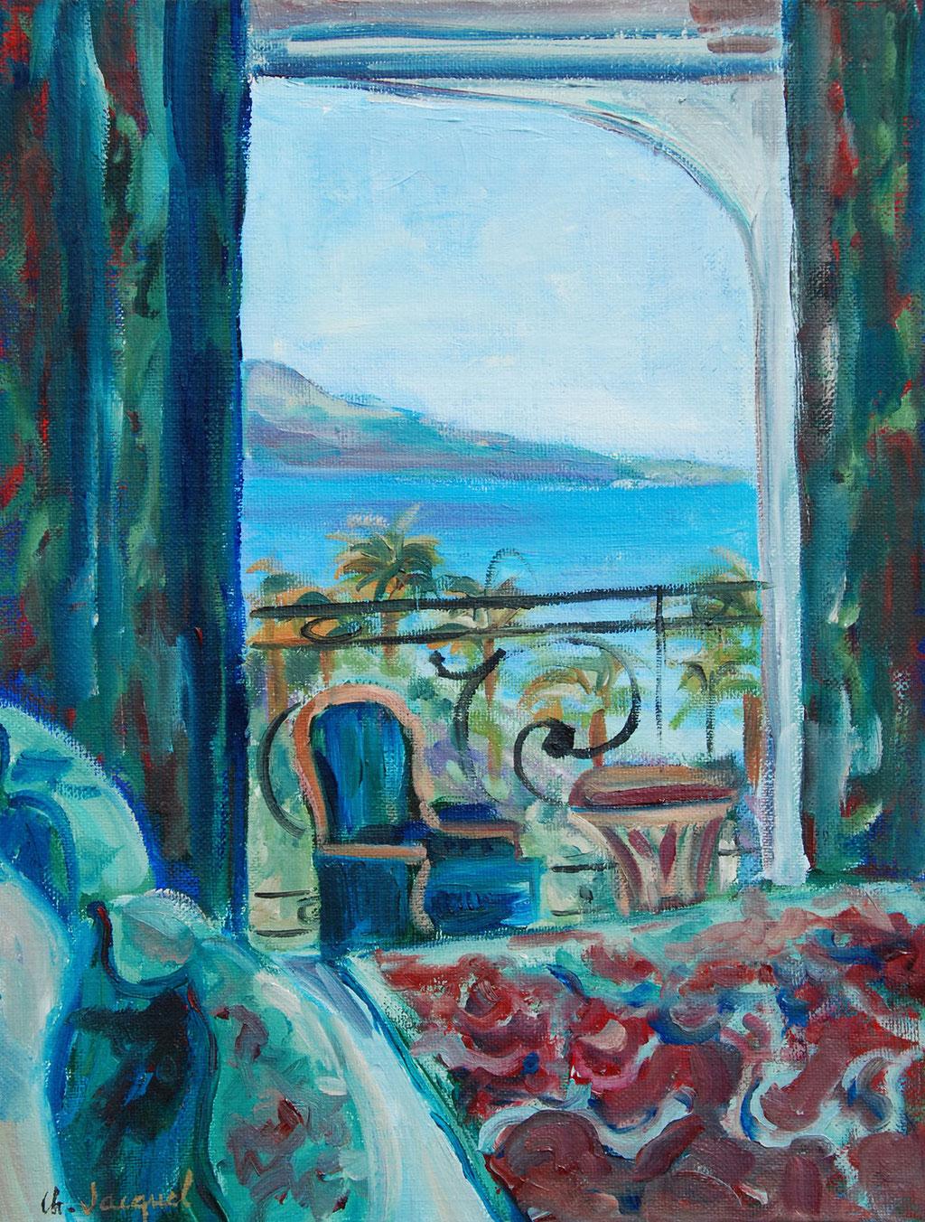 Peinture à l'huile d'un décor d'intérieur avec vue sur la mer