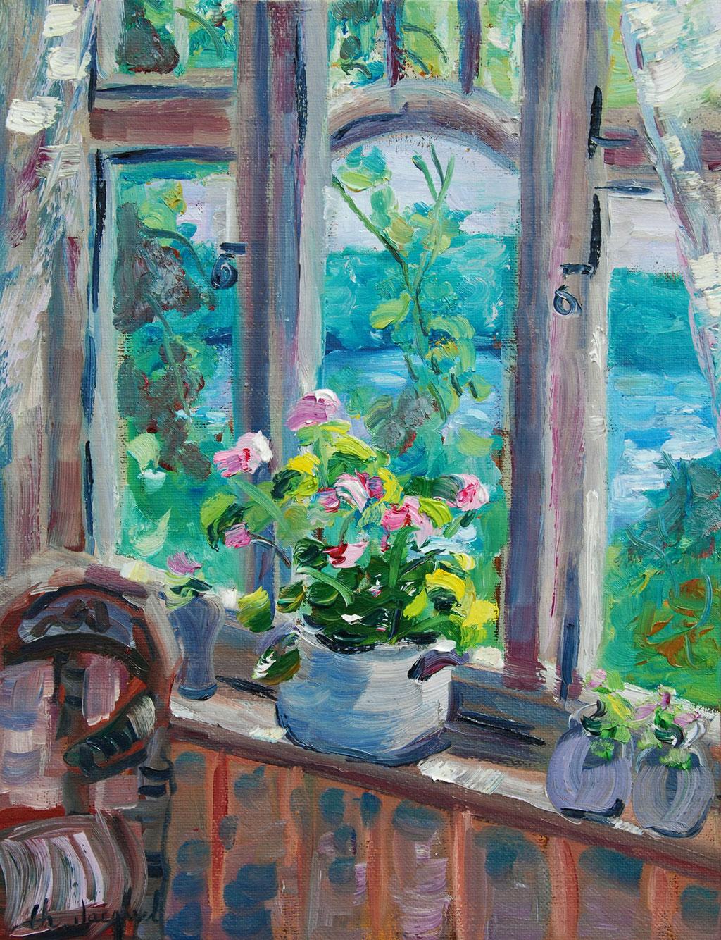 Peinture à l'huille un paysage à travers une fenêtre