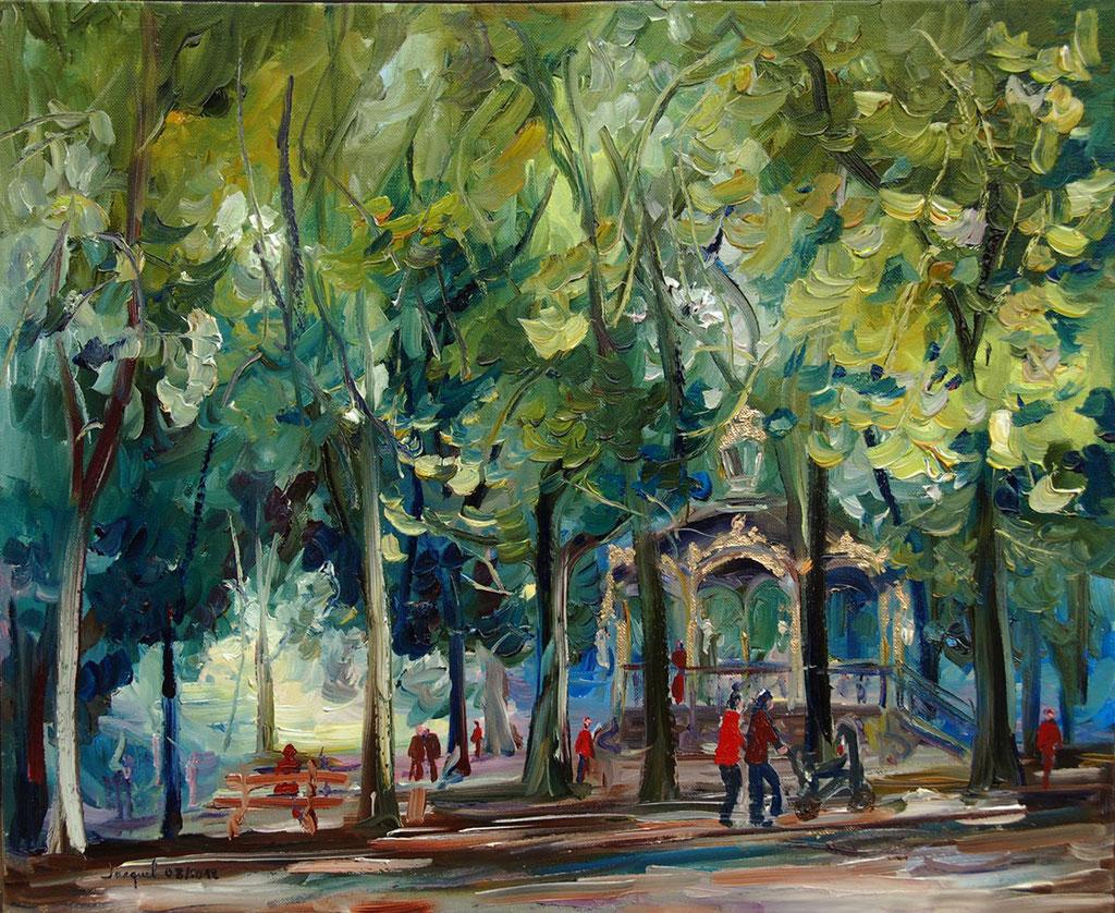 Peinture à l'huile du kiosque de la pépinière à Nancy 50cm x 61cm