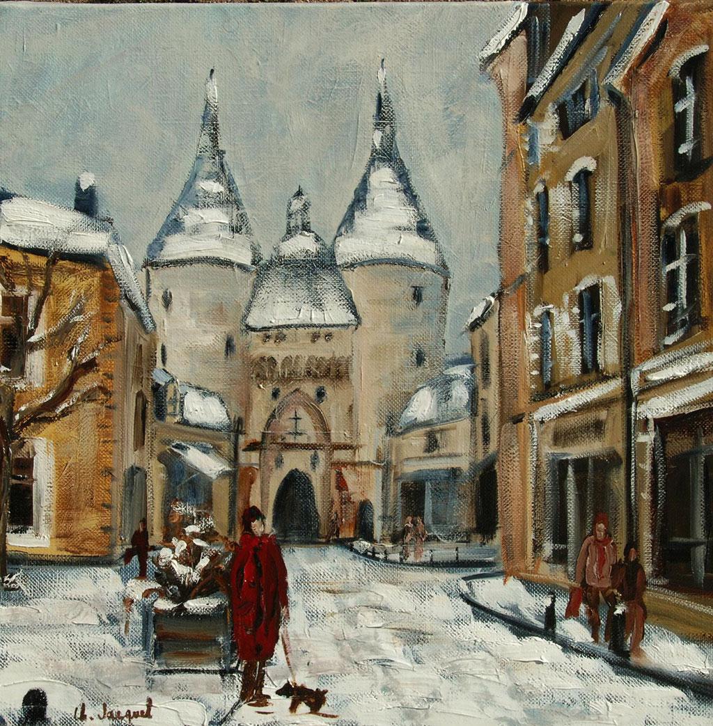 Peinture à l'huile de la porte de la Craffe à Nancy 40cm x 40cm
