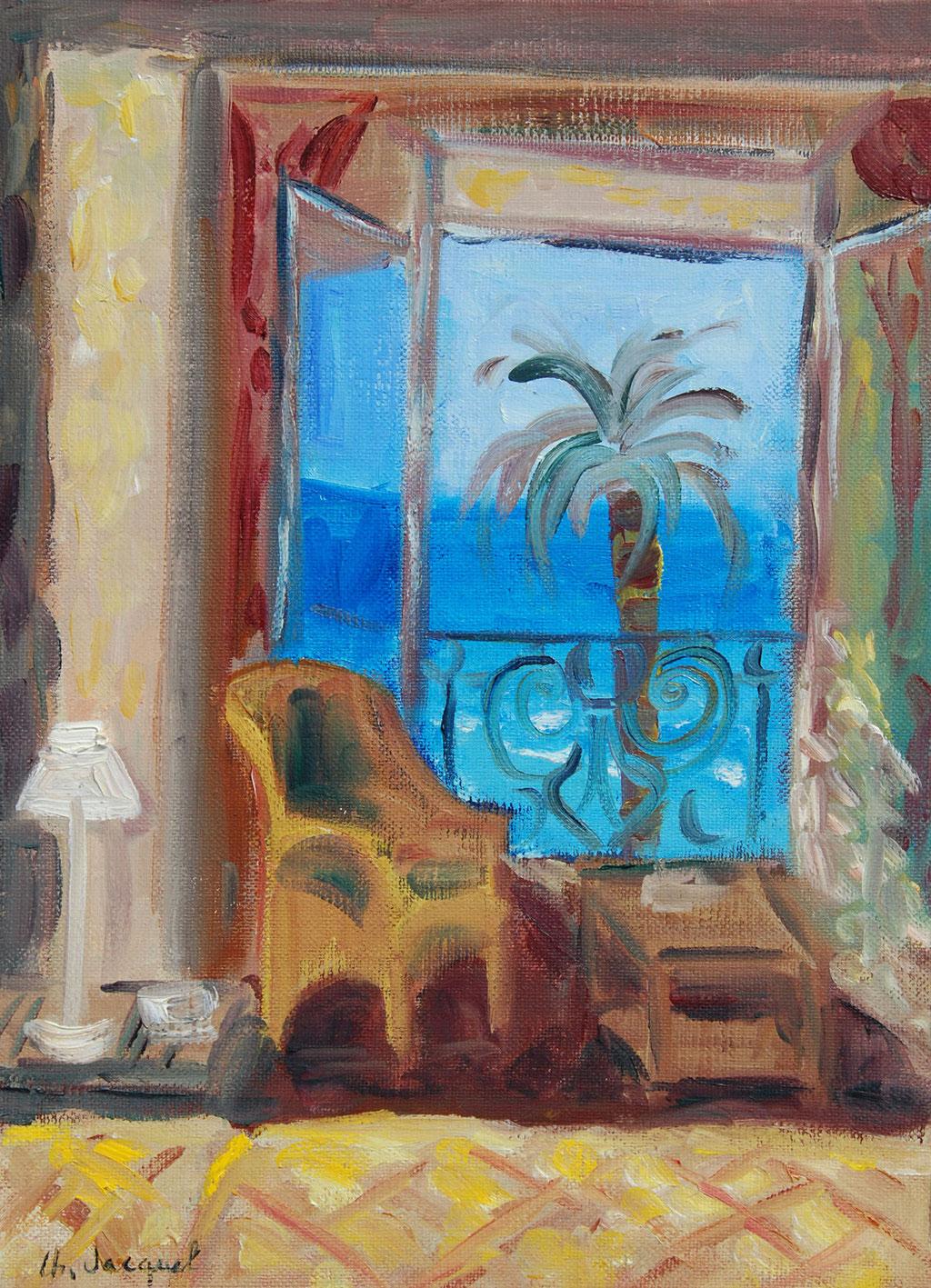 Peinture à l'hule Fenêtre sur la mer