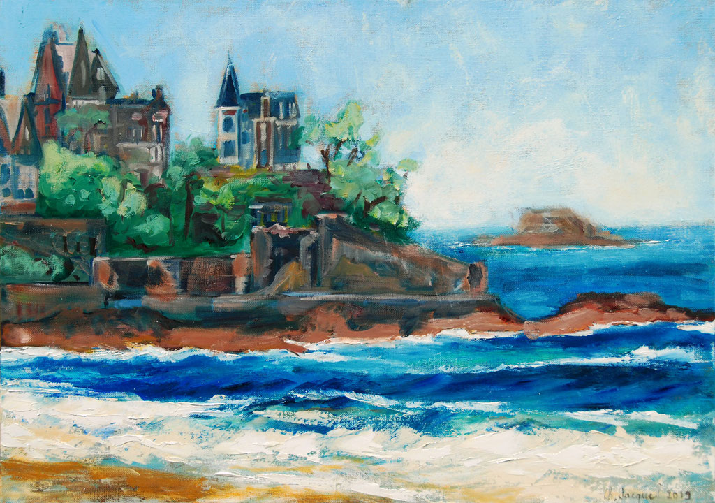 Peinture à l'huile original de la plage de Dinard en France 65cm x 46cm 2019