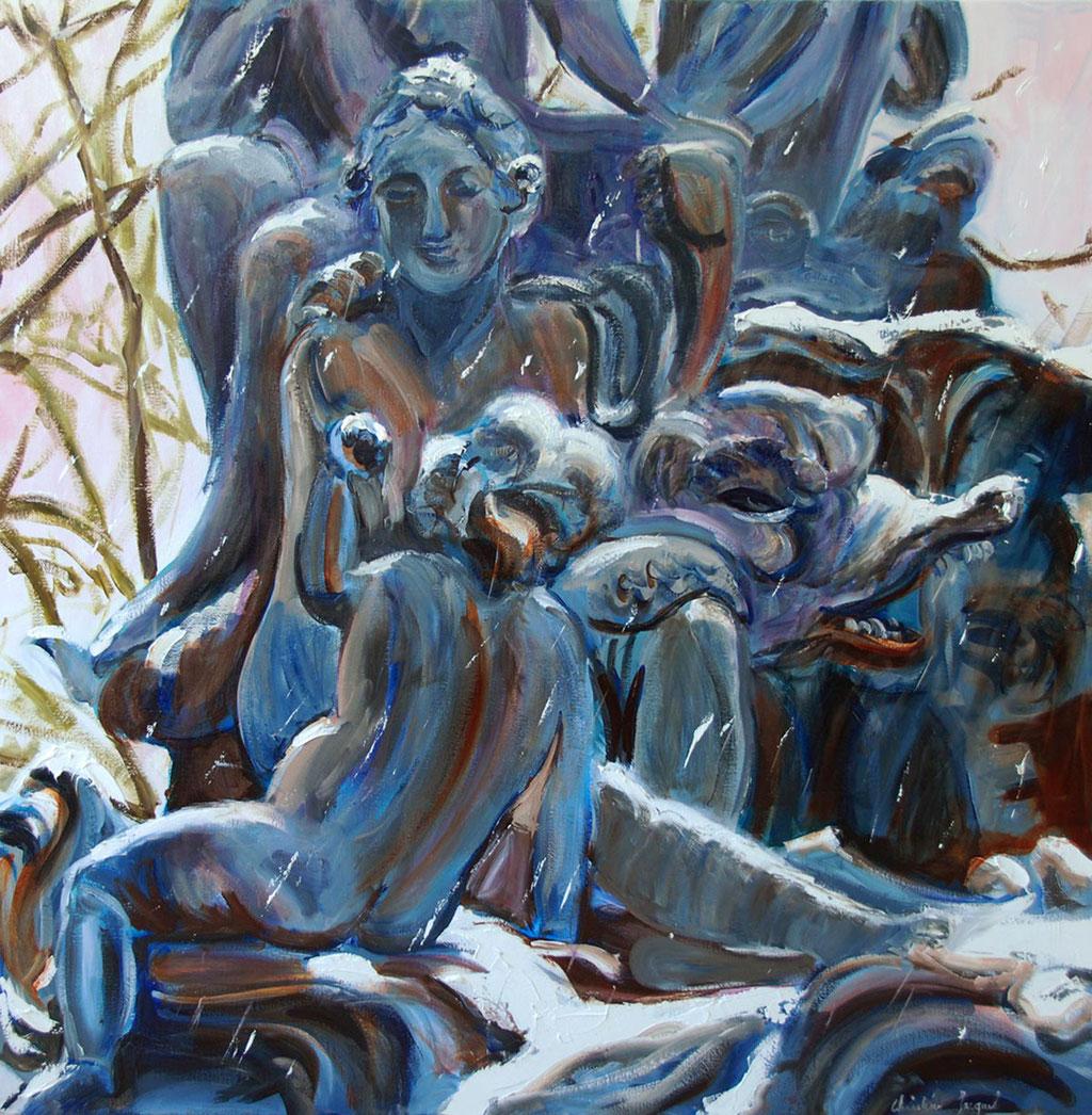 Peinture à l'huile d'un détailde la fontaine Amphitrite 100cm x 100cm