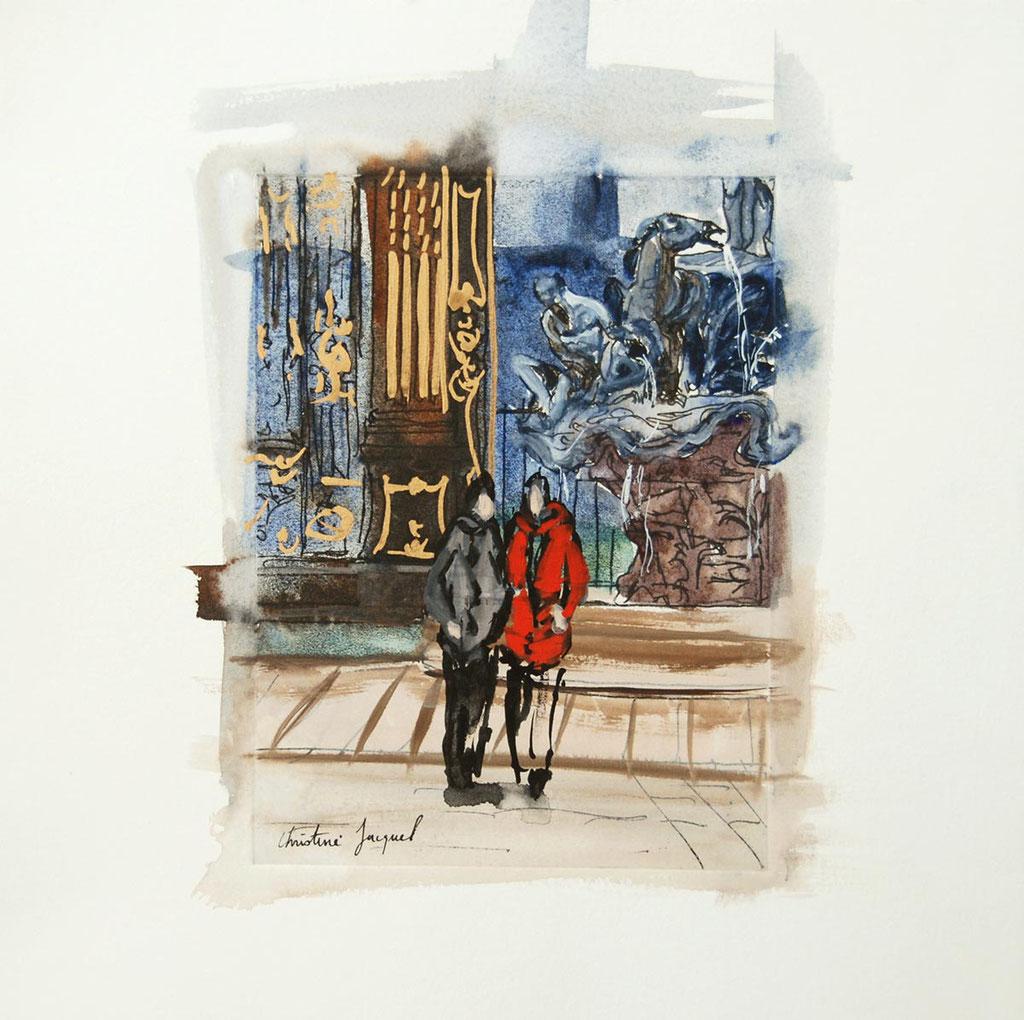 Place Stanislas à Nancy  vers la fontaine de Neptune