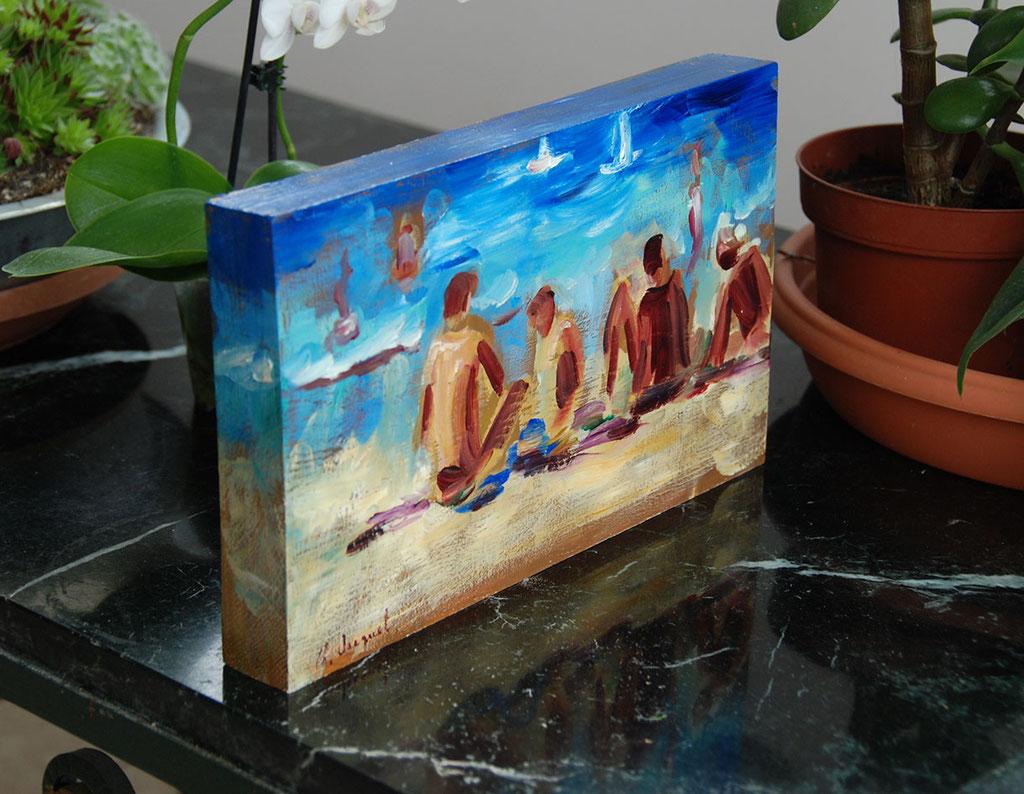 Petite huile à poser sur un meuble peinte sur un morceau de chêne massif