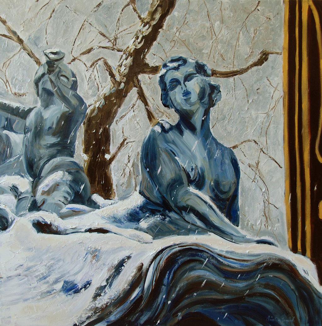 Peinture à l'huile d'un détailde la fontaine de Neptune 100cm x100cm