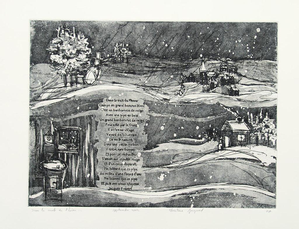 """Estampe originale illustration du poême """"Dans la nuit de l'hiver"""""""