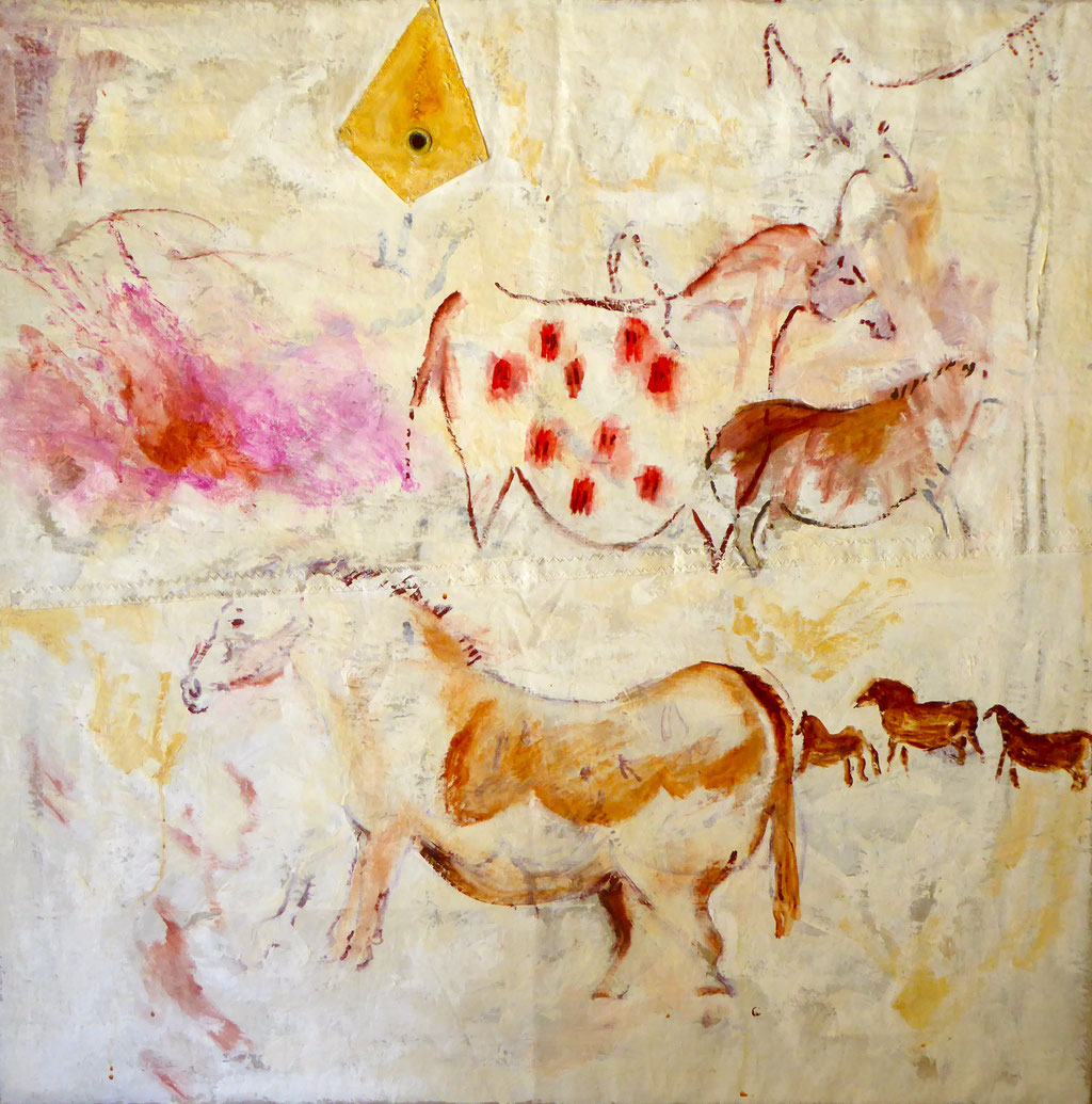 """Animales de perfil"" Óleo / vela. 100 x 100 cm. 2014.      Available"