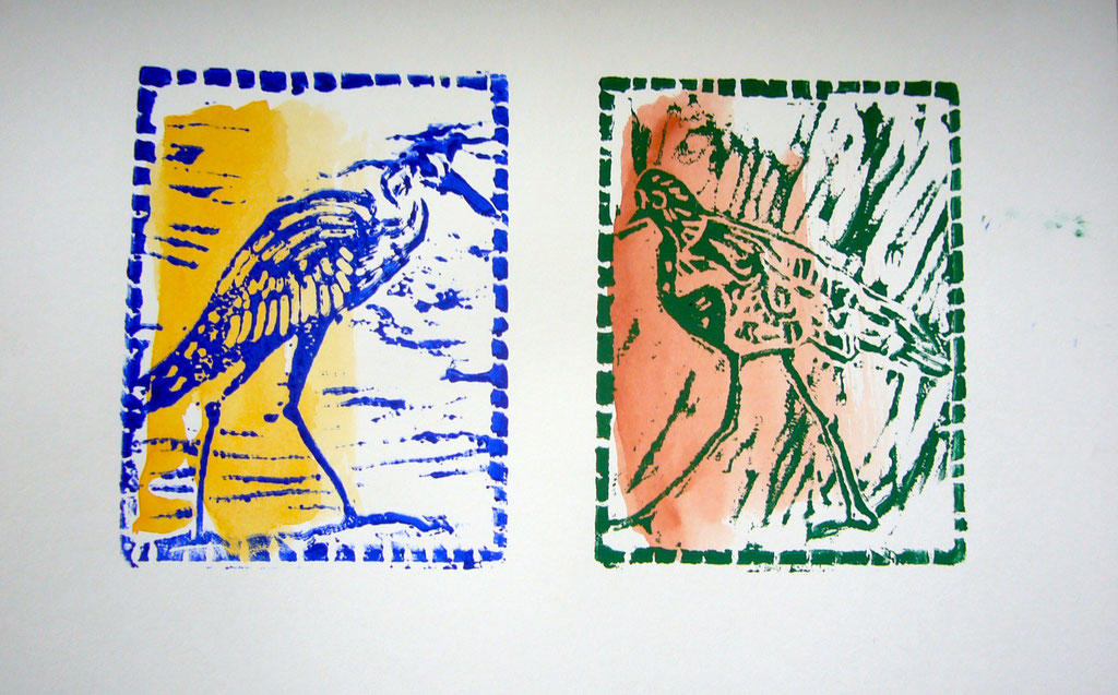 pajaritos -- LinoCut  Workshop , Berlin 2016.                   Disponible