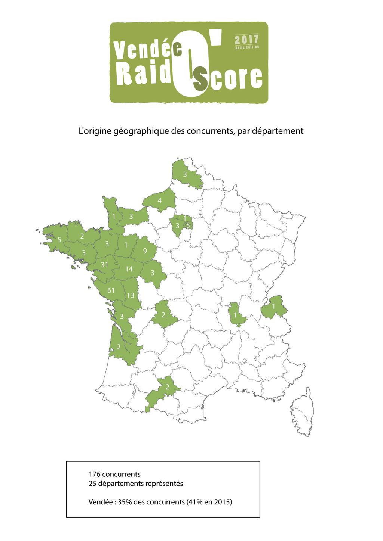 L'origine géographique des concurrents Vendée Raid O'Score 2017