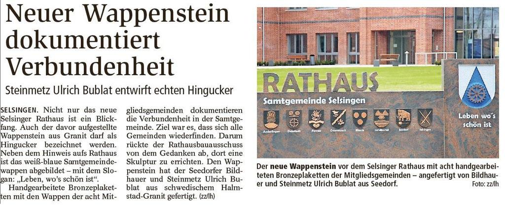 Rathaus Selsingen - Wappenstein Selsingen
