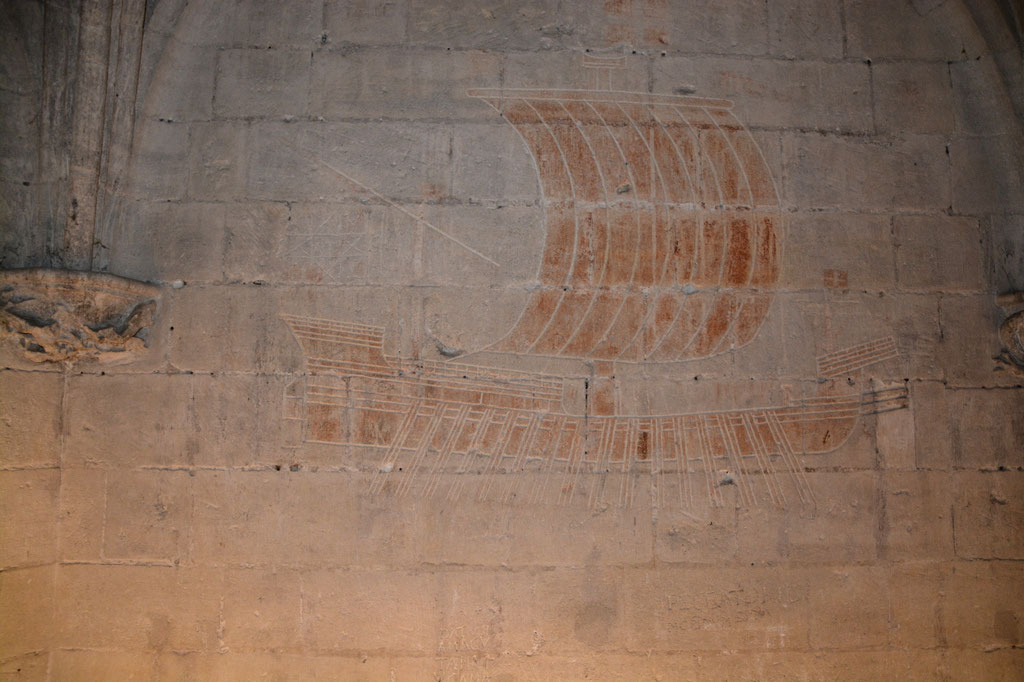 Gravur von einem Schiff, durch ein Gefangener gezeichnet, im König René Schloss
