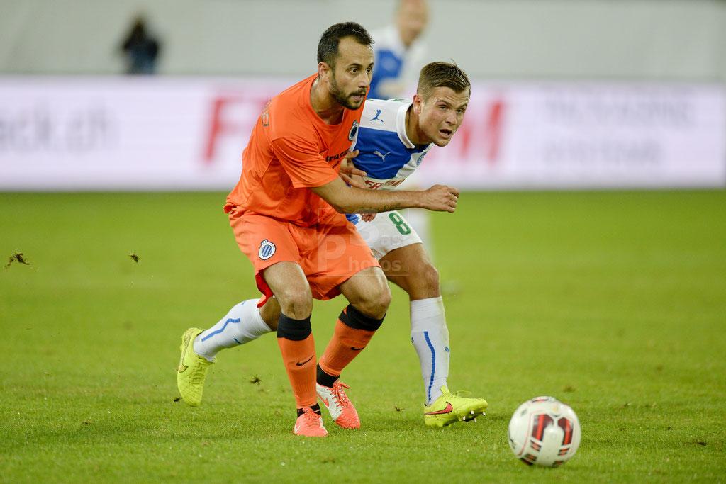 Victor Vazquez (Brugge) gegen Amir Abrashi (GC) sast-photos
