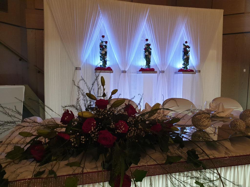 Brautpaartisch rote Rosen