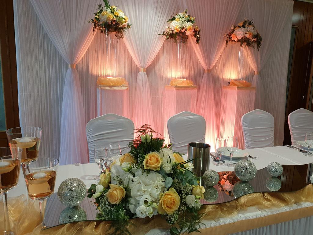 Brautpaartisch zart aprikot Hortensien mit Rosen