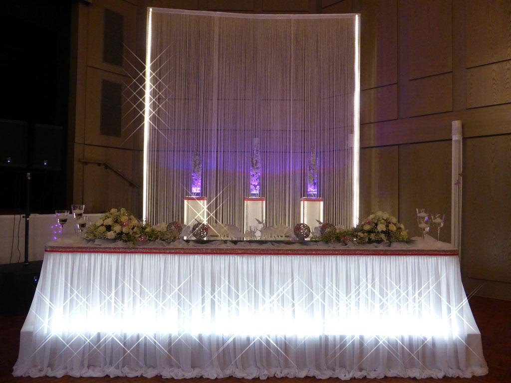 Brauttisch-Hintergrund 5 Meter Höhe Highlight dezentes pink