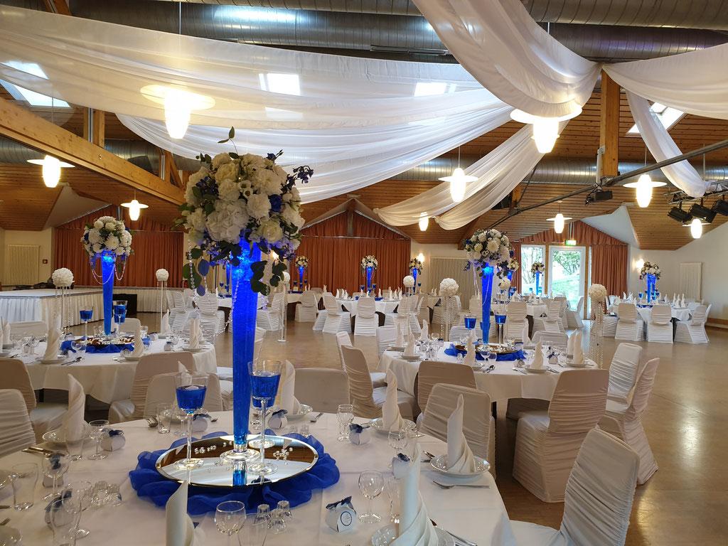 Gästetische blau LED-Vase