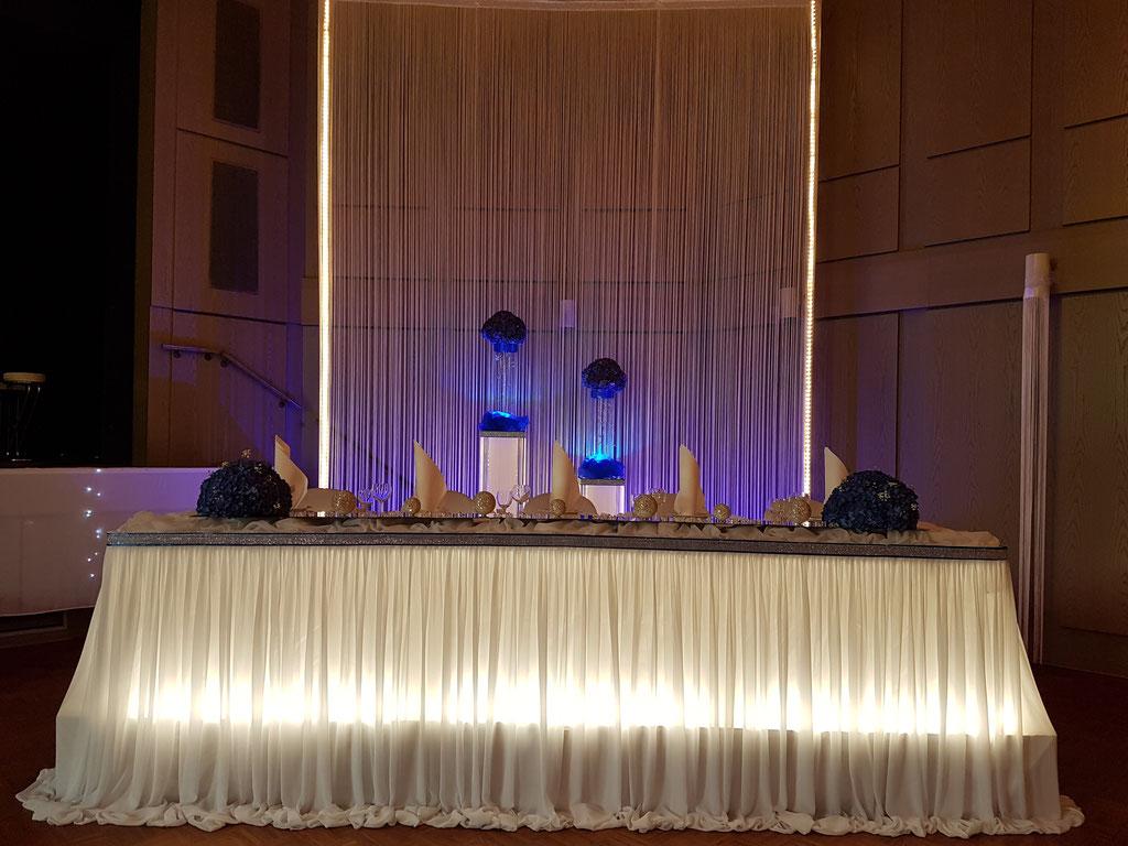 Brauttisch-Hintergrund royalblau