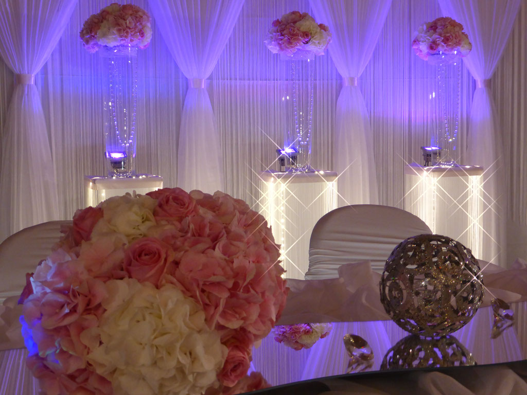 Brautpaartisch zart rosa Hortensien