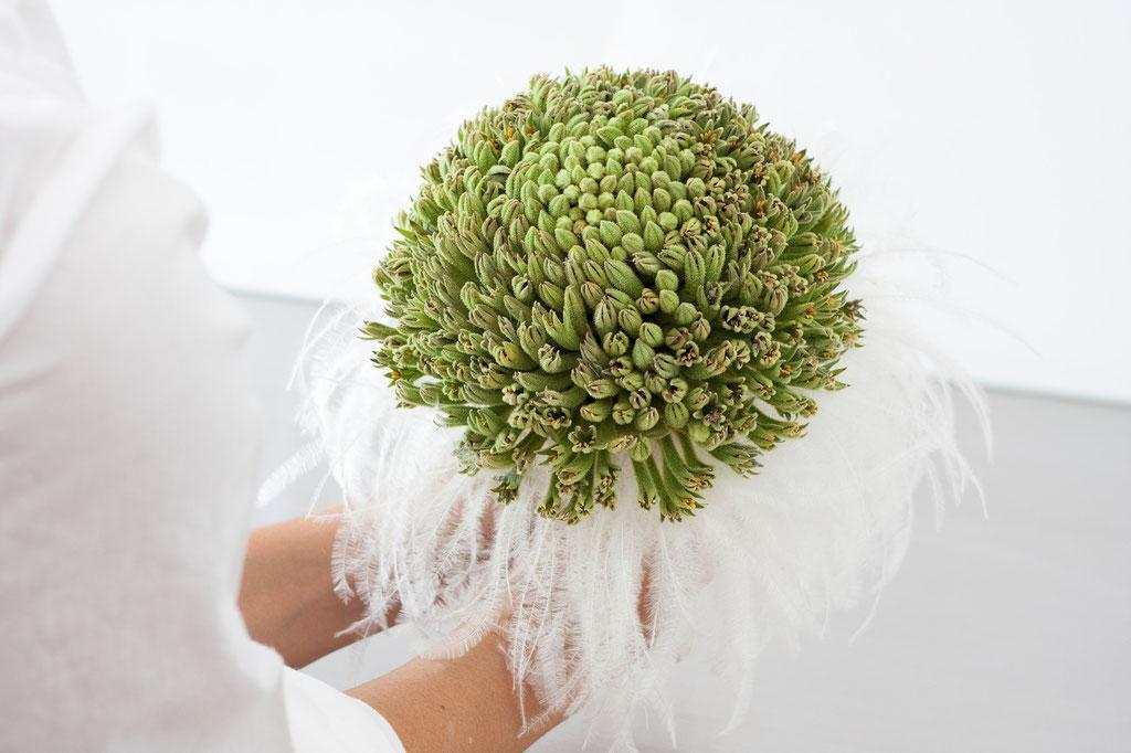 Brautstrauss mit grünen Kängurupfötli und Straussenfedern  |  270 CHF