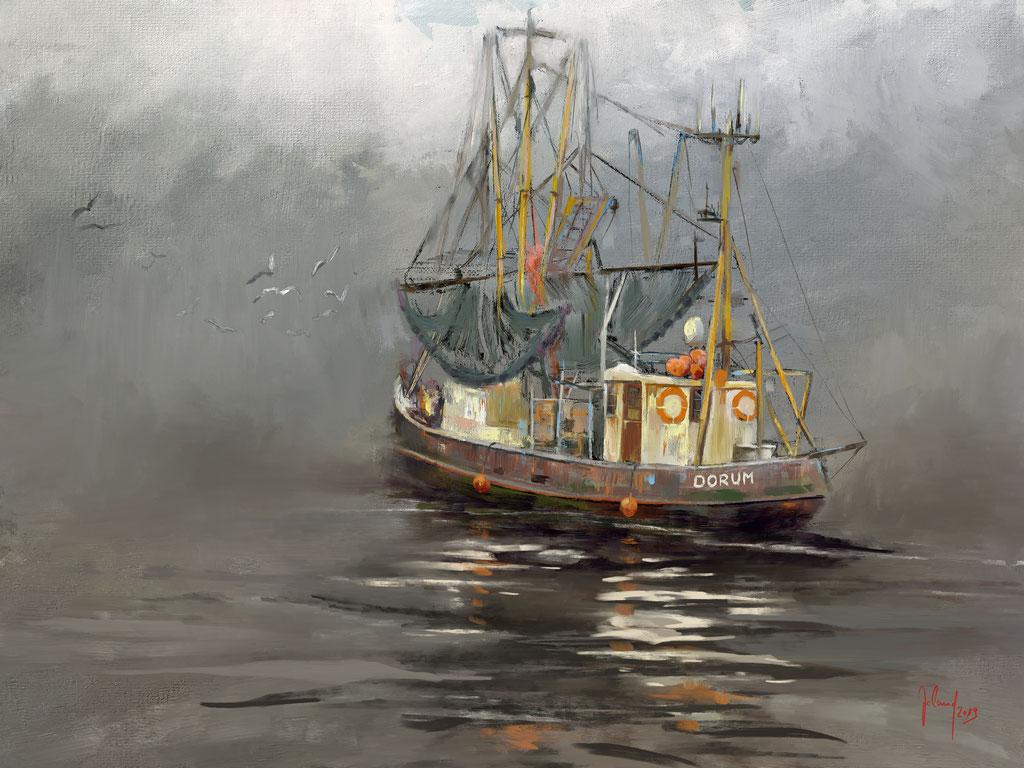 Nebelbank vor Dorum