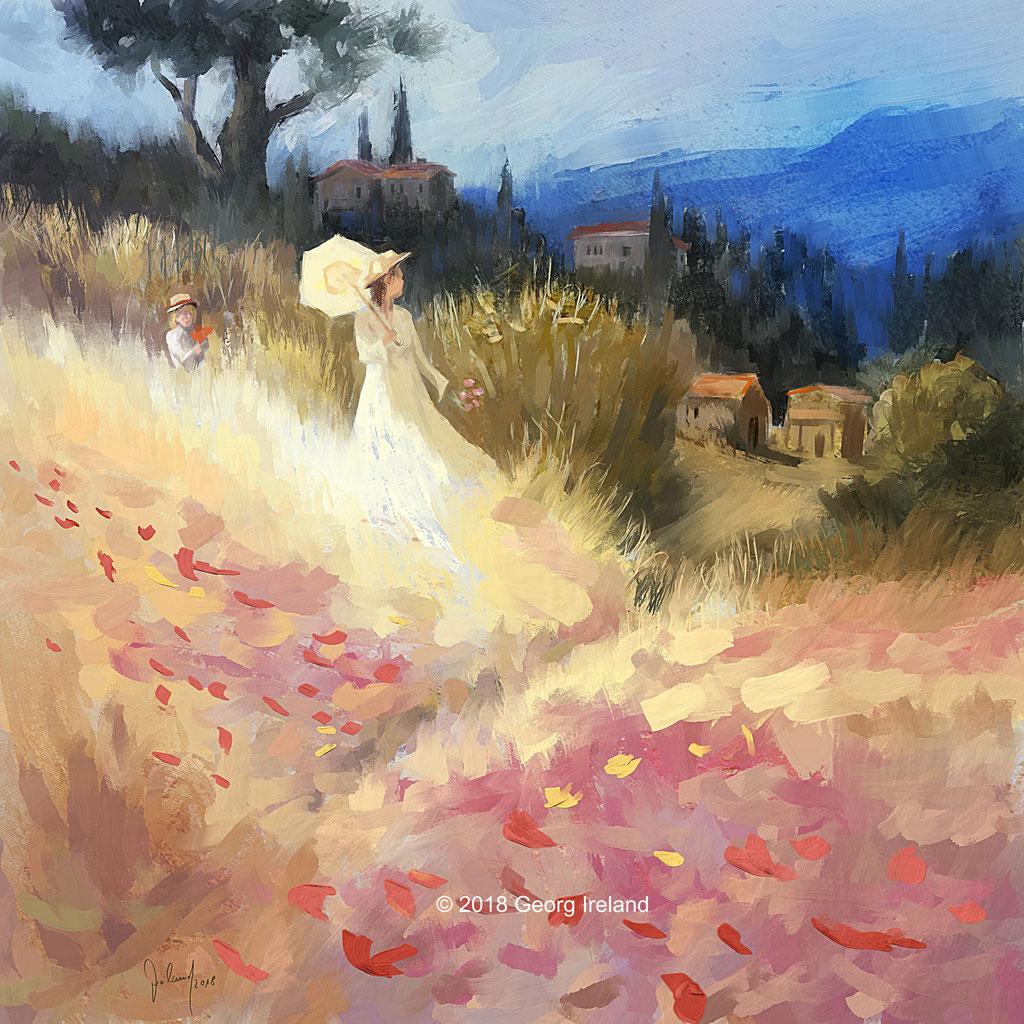 Nachmittagsspaziergang in den Feldern der Toskana