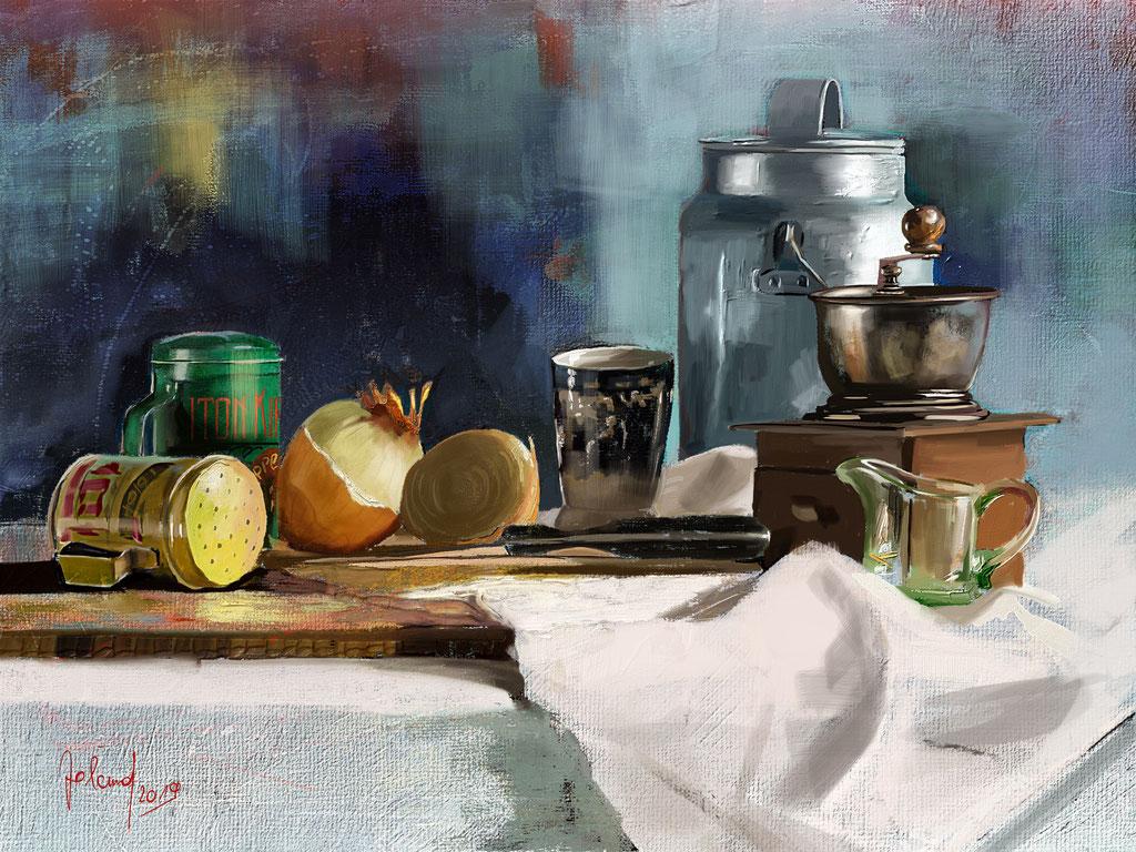 Stilleben mit Milchkanne und Kaffeemühle
