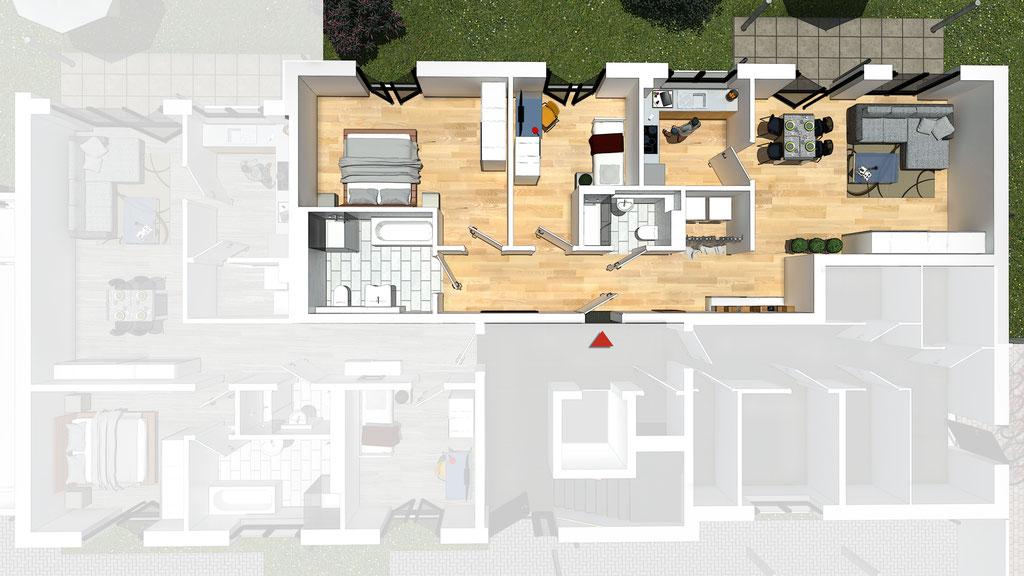 Wohnung A1 / B1 - ca. 99,0 m² - Wohnbeispiel 1