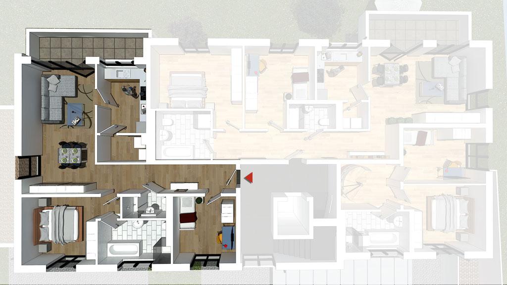 Wohnung A4 / B4 - ca. 88,5 m² - Wohnbeispiel 1