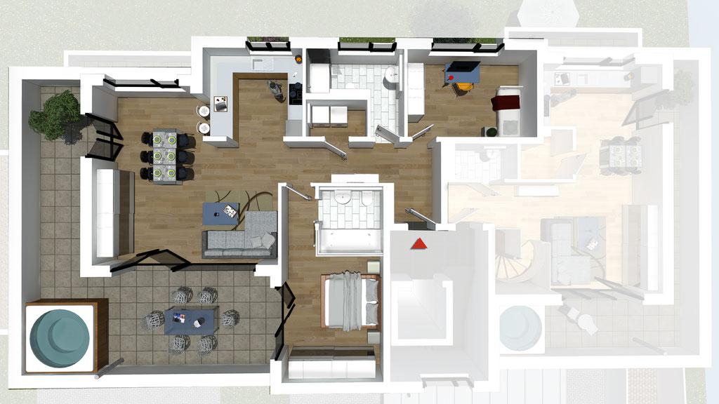 Wohnung A6 / B6 - ca. 121,6 m² - Wohnbeispiel 1