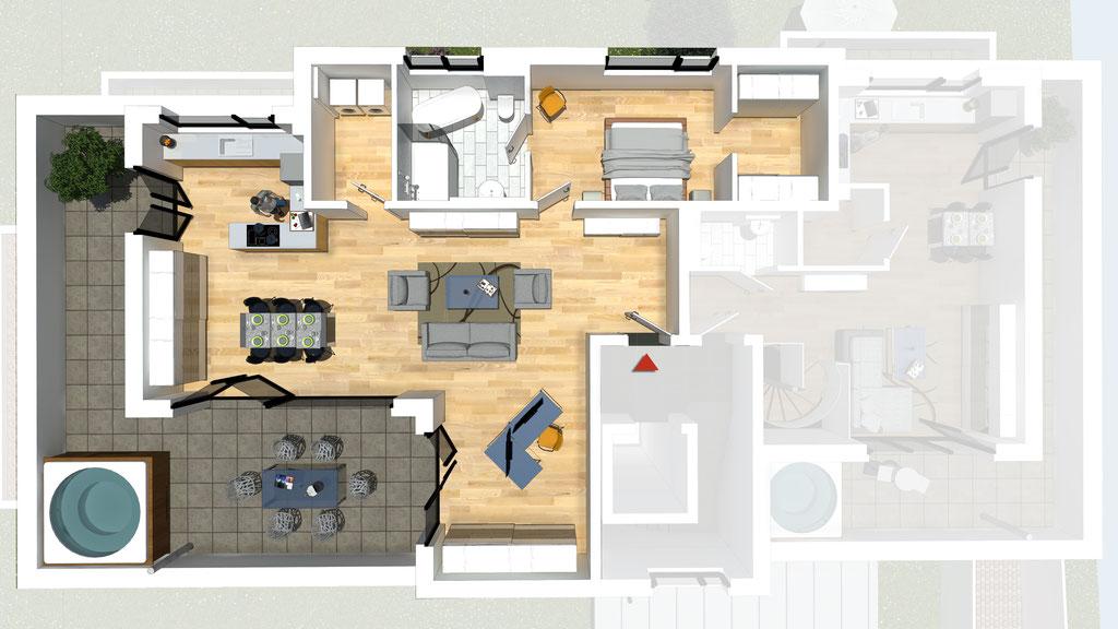 Wohnung A6 / B6 - ca. 121,6 m² - Wohnbeispiel 2