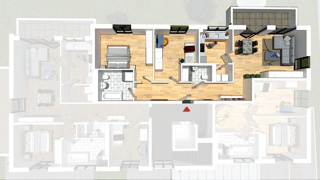 Wohnung A3 / B3 - ca. 95,8 m² - Wohnbeispiel 1