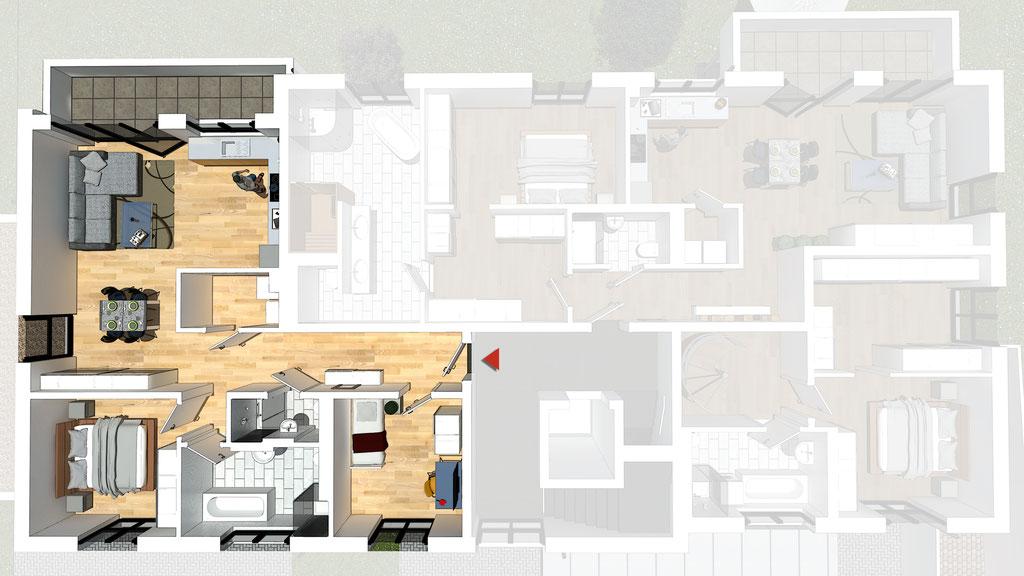 Wohnung A4 / B4 - ca. 88,5 m² - Wohnbeispiel 2