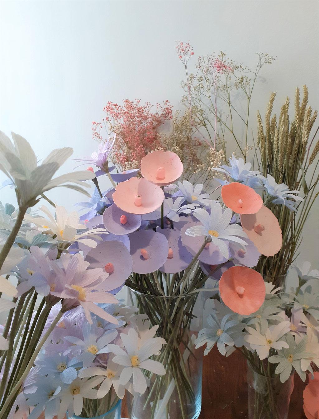 Bouque fantaisie de fleurs en papier-Création Maria Salvador