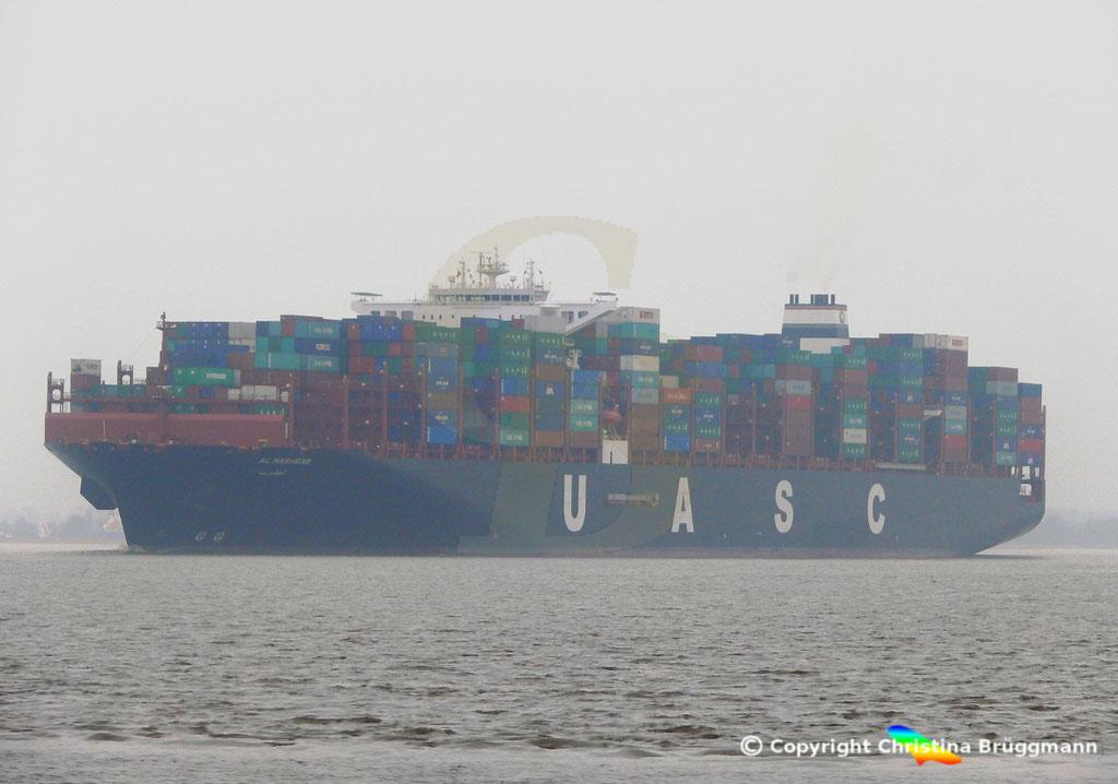 Containerschiff AL MASHRAB, Elbe 29.03.2017, BILD 2