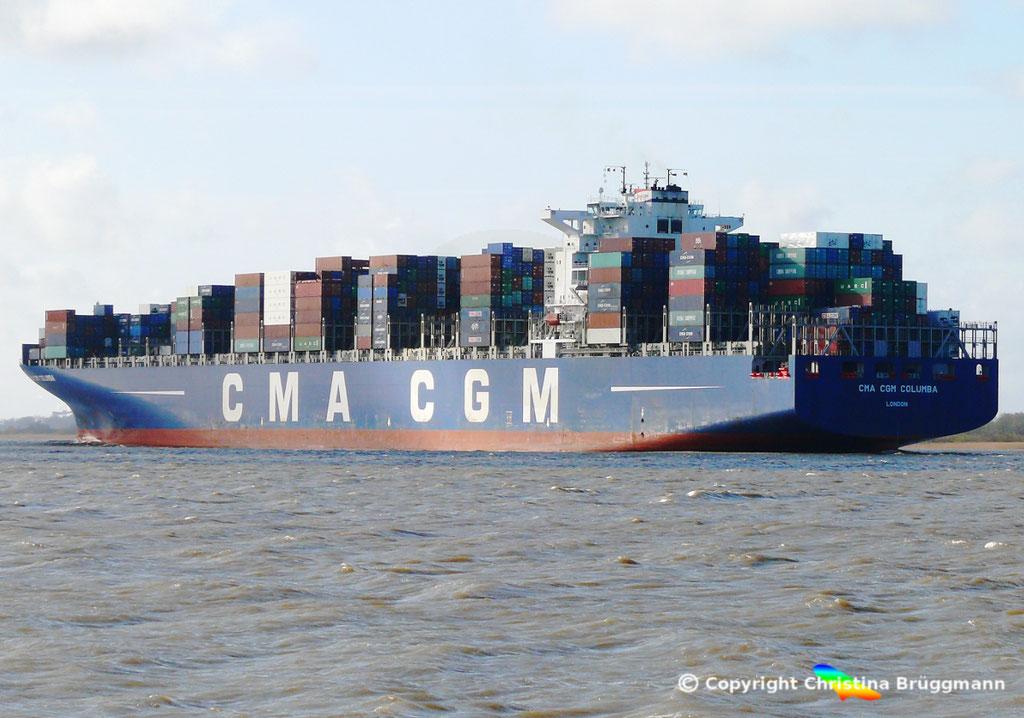 "Containerschiff ""CMA CGM COLUMBA"" Elbe 13.04.2015, BILD 6"
