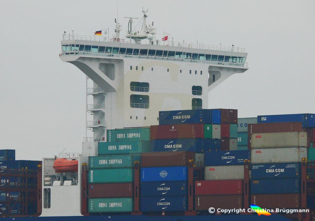 Containerschiff APL FULLERTON, nach Verlängerung, Elbe 20.03.2019,  BILD 4