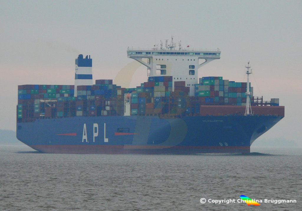 Containerschiff APL FULLERTON, nach Upgrade, Elbe 20.03.2019,  BILD 1