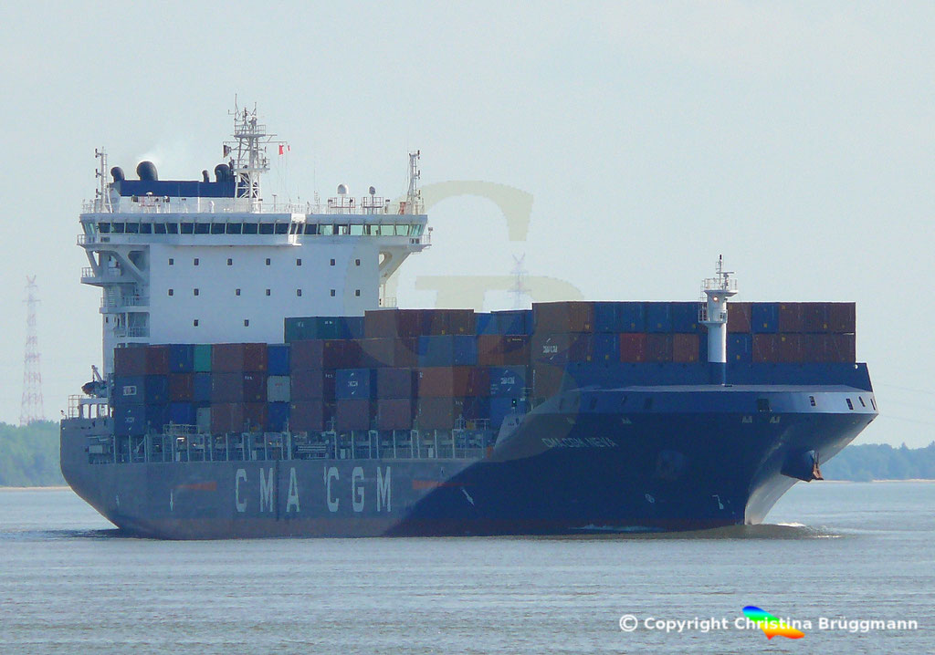 Container-Feeder CMA CGM NEVA, Elbe 04.09.2018,  BILD 1
