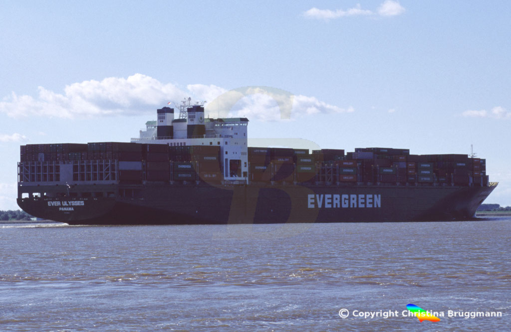Containerschiff EVER ULYSSES, Elbe 2005,  BILD 2