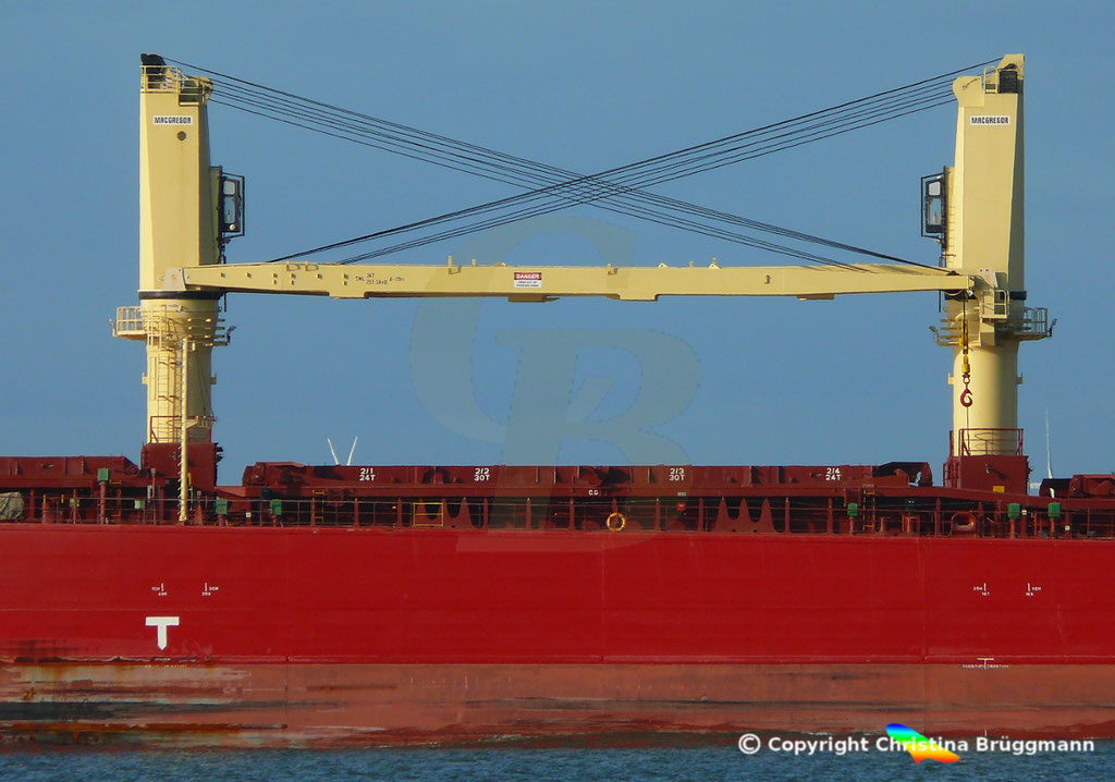 Bulk Carrier FEDERAL RUHR, 36 t Kräne MACGREGOR,Elbe 31.08.2018, Bild 4