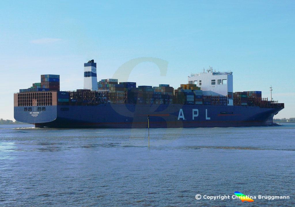 Containerschiff APL TEMASEK, Elbe 03.11.2018, BILD 4
