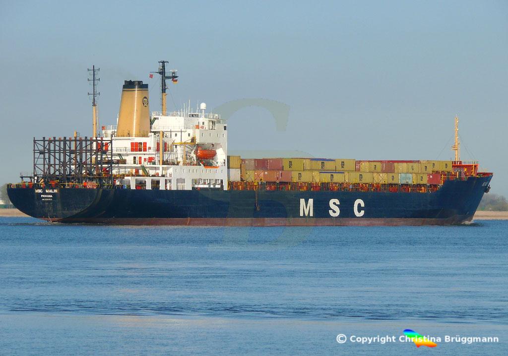 Containerschiff MSC MALIN, Elbe 10.04.2019,  BILD 7